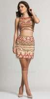 Dave and Johnny Two Piece Embellished Illusion Cocktail Dress