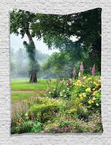 Ambesonne Country Home Decor Collection, Vibrant Colored Flowers Trees in an English Park Morning Haze Foggy Sunrise Image, Bedroom Living Room Dorm Wall Hanging Tapestry, Green Yellow Lilac