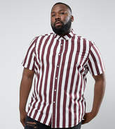 Asos Plus Regular Fit Stripe Shirt In Burgundy