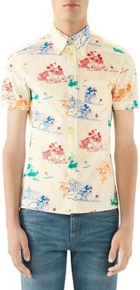 Gucci x Disney Print Cotton Short Sleeve Button-Up Shirt