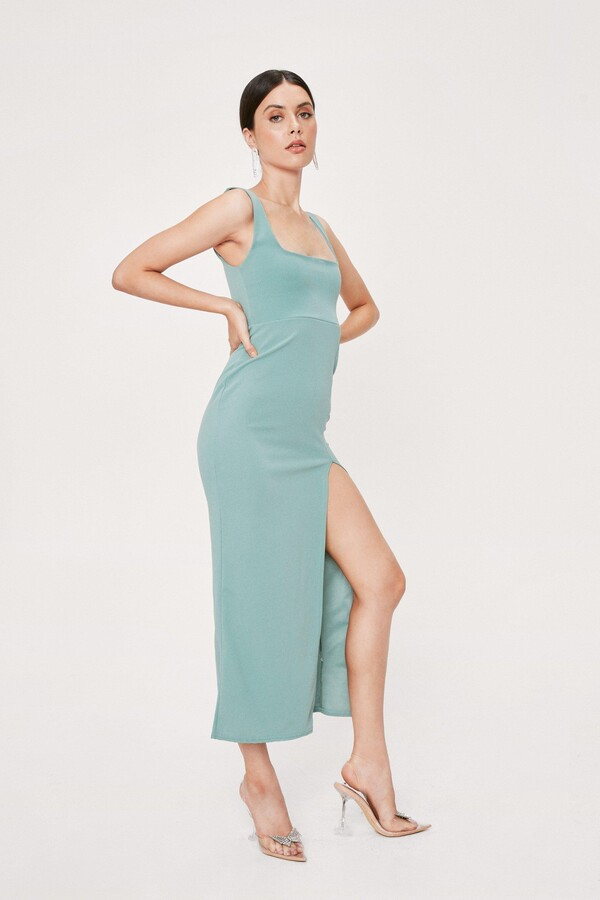 Thumbnail for your product : Nasty Gal Womens Square Neck Split Front Maxi Dress - Green - 12