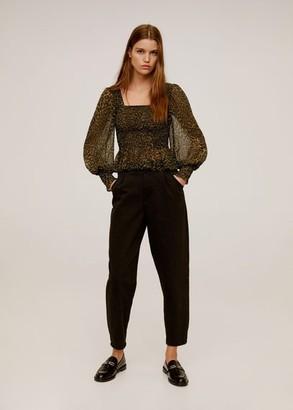 MANGO Elastic leopard-print blouse