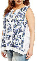 Lucky Brand Plus Embroidered Floral Tank Top