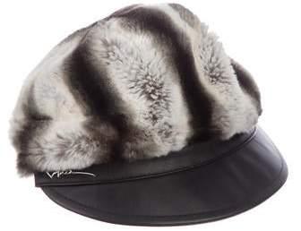 690561f323ba5 Giorgio Armani Faux-Fur Newsboy Cap