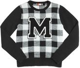 MSGM Checked Double Knit Wool Blend Sweater