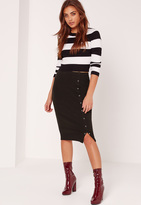 Missguided Popper Side Ribbed Midi Skirt Black