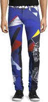 Versace Collage-Print Five-Pocket Jeans