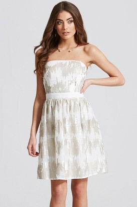 Little Mistress Cream Sequin Bandeau Fit and Flare Dress
