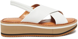 Clergerie Freedom' Cross Strap Elastic Slingback Platform Leather Sandals