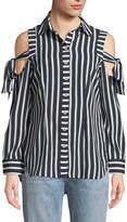 Neiman Marcus Striped Cold-Shoulder Button-Front Blouse