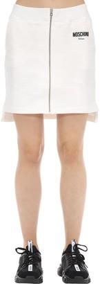 Moschino Zipped Cotton Jersey Mini Skirt