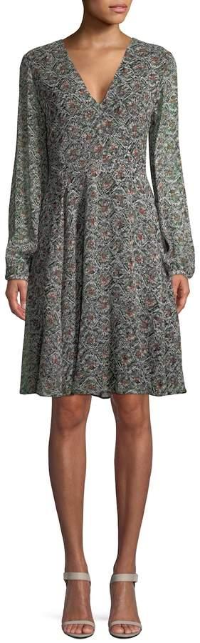 Derek Lam Women's Silk Printed Flared Dress