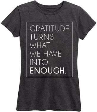Instant Message Women's Women's Tee Shirts HEATHER - Heather Charcoal 'Gratitude Turns' Relaxed-Fit Tee - Women - Women