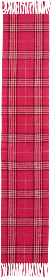 Neiman Marcus Cashmere Plaid Scarf, Pink