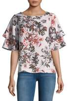 Lord & Taylor Petite Ruffle-Sleeve Floral Blouse