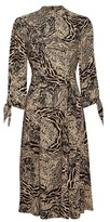 Dorothy Perkins Womens Tan And Black Tiger Print Tie Long Sleeve Midi Dress, Black