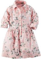 Carter's Roll-Tab-Sleeve Pink Woven Shirtdress - Girls 4-8