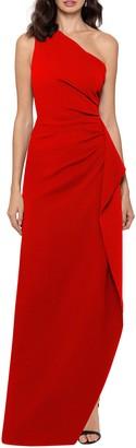 Xscape Evenings One-Shoulder Scuba Crepe Gown