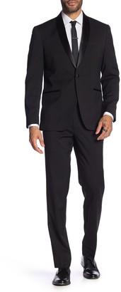 Kenneth Cole Reaction Black Solid One Button Shawl Lapel Techni-Cole Slim Fit Tuxedo
