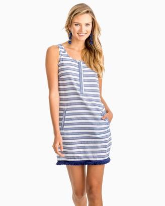 Southern Tide Corrine Fringe Hem Sleeveless Striped Dress