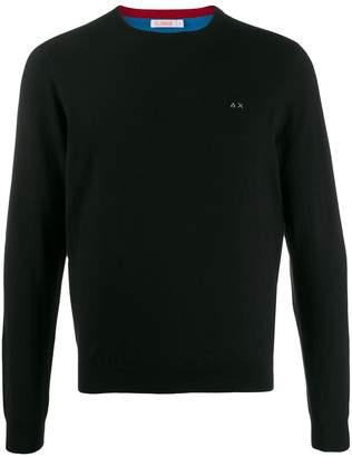 Sun 68 logo embroidered sweater