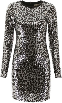 MICHAEL Michael Kors ANIMALIER SEQUINS MINI DRESS M Silver, Black, Beige