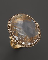 Bloomingdale's Crystal Quartz Oval and Champagne Diamond Ring in 14K Yellow Gold