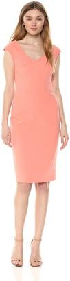 Calvin Klein Women's Solid Cap Sleeved Sheath with Square Neckline Dress