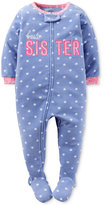 Carter's Baby Girls' 1-Pc. Best Sister Heart-Print Footed Pajamas