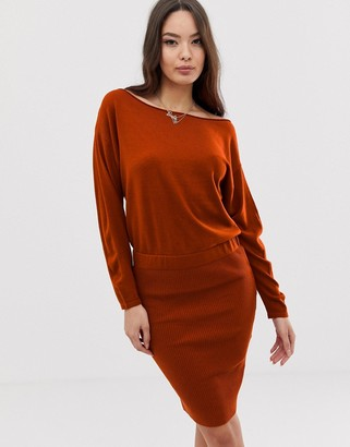 Asos Design DESIGN knit dress with pencil skirt and slouchy top-Red