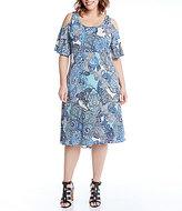 Karen Kane Plus Cold-Shoulder Paisley Print Dress