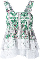Tory Burch floral print pleated top - women - Silk/Cotton - 2