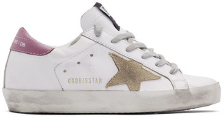 Golden Goose SSENSE Exclusive White and Pink Superstar Sneakers