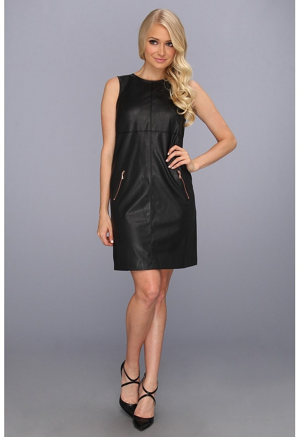 Ivy & Blu Maggy Boutique - Vegan Leather Sheath Dress w/ Rose Gold Zippers (Black) - Apparel