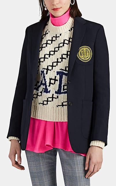 Calvin Klein Women's Wool Twill Two-Button Blazer - Navy