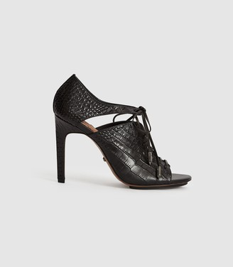 Reiss Mila - Leather Lace Up Heeled Shoes in Black Croc
