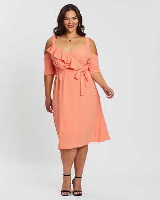 boohoo Plunge Ruffle Midi Dress