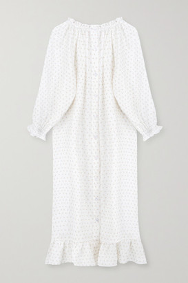 Sleeper Ruffled Floral-print Linen Midi Dress - White