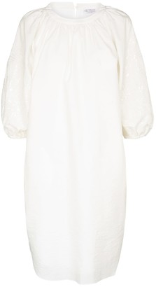 Brunello Cucinelli Gathered cotton-blend midi dress