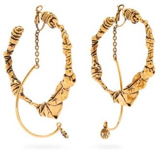 Alexander McQueen Twisted Abstract Hoop Earrings - Silver