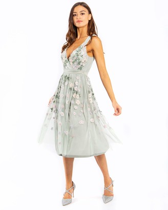 Maya Deluxe Women's Maya Green Lilly Floral Embroidery Midi Dress Bridesmaid 8