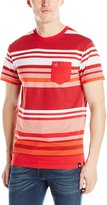 Southpole Men's Stripe Crew Neck Tee with Irregular Color Graduating Stripes