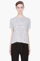 T BY ALEXANDER WANG white combo striped Knit-Back t-shirt