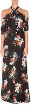 Erdem Analiese Tie-Neck Cold-Shoulder Gown, Black Pattern