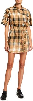 Burberry Rachel Check Short-Sleeve Shirtdress