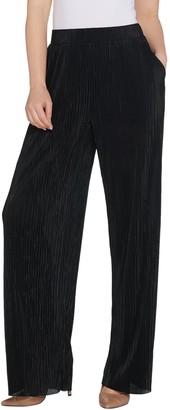 Halston H by Regular Plisse Wide Leg Full-Length Pants