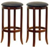 Winsome Wood 30-Inch Black PVC Seat Walnut Bar Stools, Set of 2