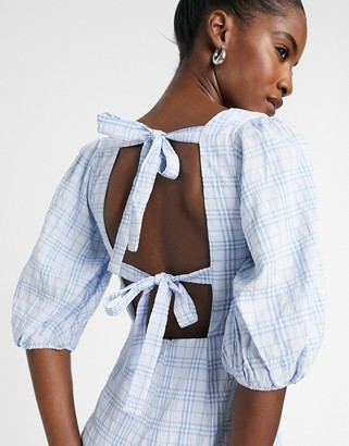 Glamorous smock mini dress with square neck in blue check