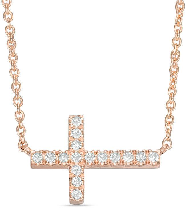 Zales 1/10 CT. T.W. Diamond Sideways Cross Necklace in 14K Rose Gold