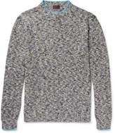 Altea Mouline Contrast-Tipped Mélange Knitted Sweater